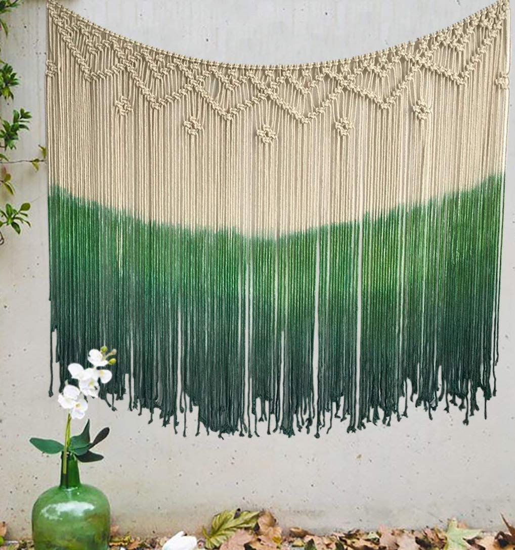Flber Dip-Dyed Macrame Woven Wall Art Curtain Home Décor,47'' Wx39 L