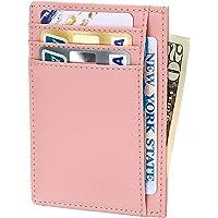 Slim RFID Blocking Wallet Thin Credit Card Holder Minimalist Leather Front Pocket Wallet for Women Rose Gold