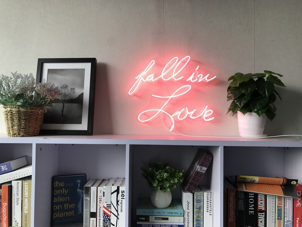 Fall In Love Real Glass Neon Sign For Bedroom Garage Bar Man Cave Room Home Decor Handmade Artwork Visual Art Dimmable Wall Lighting Includes Dimmer Artist Emily Ryder