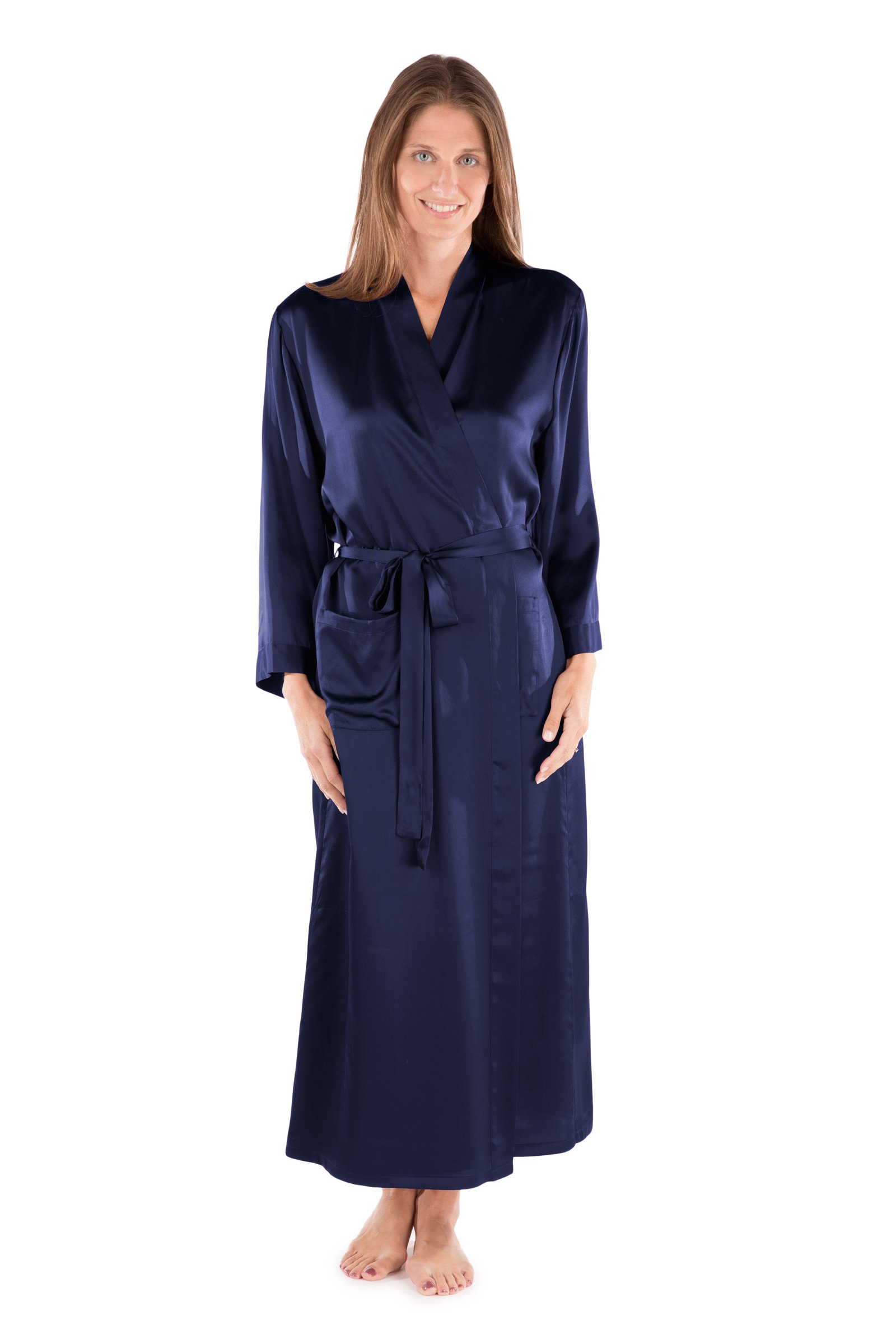 TexereSilk Women's Luxury Long Silk Robe (Gulf Blue, Large/X-Large) Romantic Mother's Day Gifts For Wife Fiancee WS0101-GFB-LXL