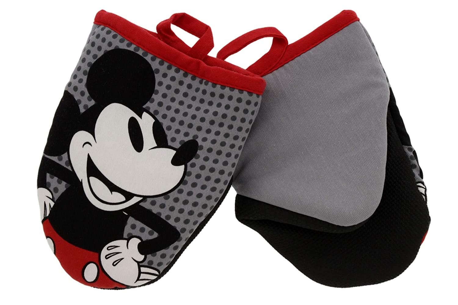 "Disney Kitchen Cotton Mini Oven Mitts/Glove Set w/Neoprene Insulation for Easy Gripping While Cooking, Heat Resistant Kitchen Accessories, 5.5"" x 6.5"", Mickey Grey Dots, 2pk"