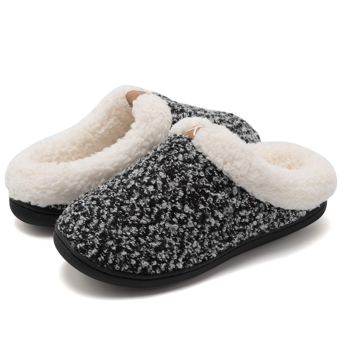 Fanture Women's Memory Foam Slippers Slip-on Clog Scuff House Shoes Indoor & Outdoor