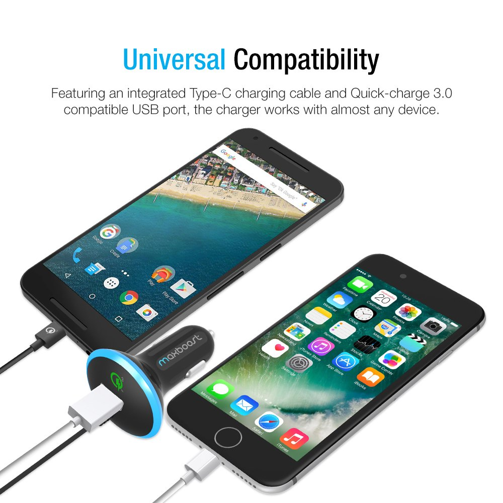 Type C Car Charger, Maxboost 36W Quick Charge 3.0 USB Port + Built-in USB C (3.1) Cable for Galaxy S9 S8 Plus, Note 8, LG G6 G5 V20, HTC 10, Nexus 6P 5X, Macbook, iPhone, OnePlus,Nintendo Switch by Maxboost (Image #8)