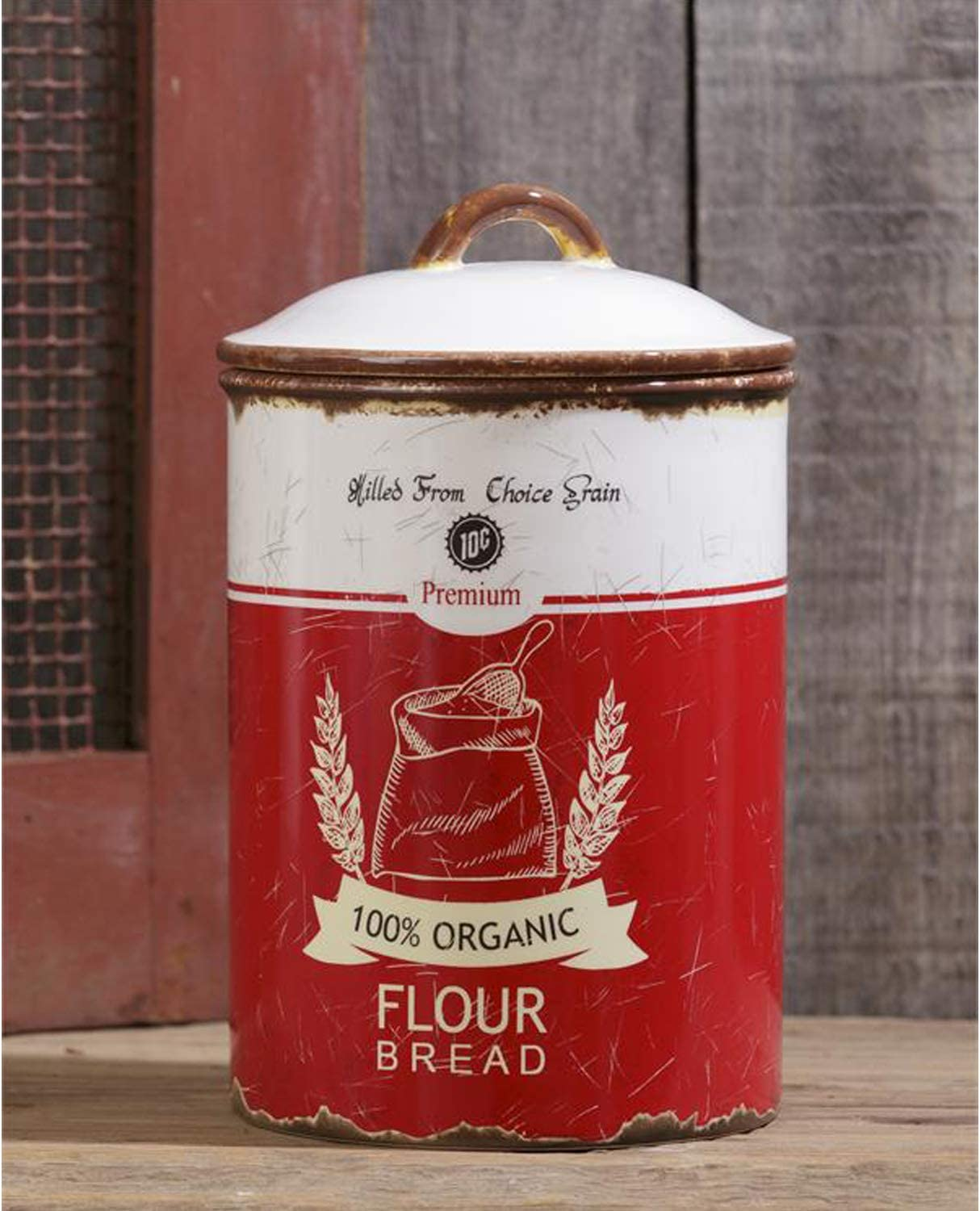 Vintage Rustic Decorative Ceramic Flour Storage Canister with Lid – Retro Farmhouse Cookie Jar Container Kitchen Decor