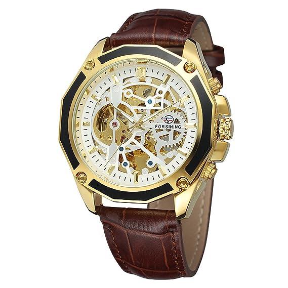 Forsining Transparent Luxury Gear Steampunk Brown Genuine Leather Belt  Golden Movement Inside Self Winding Automatic Mens