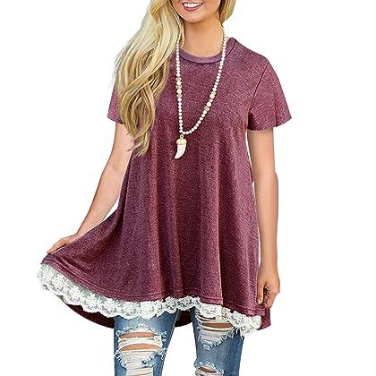 dff170edf1b Sanifer Women Short Sleeve Summer Tunics Lace Trim Tops Blouses T Shirts