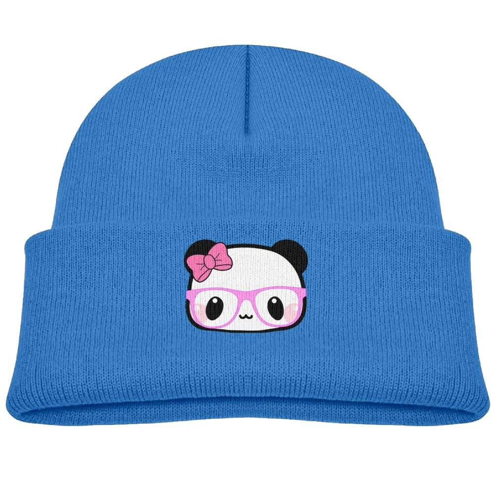 Kocvbng I Beanie Cap Glasses Panda Bow Winter Knit Hat Girl's Kids