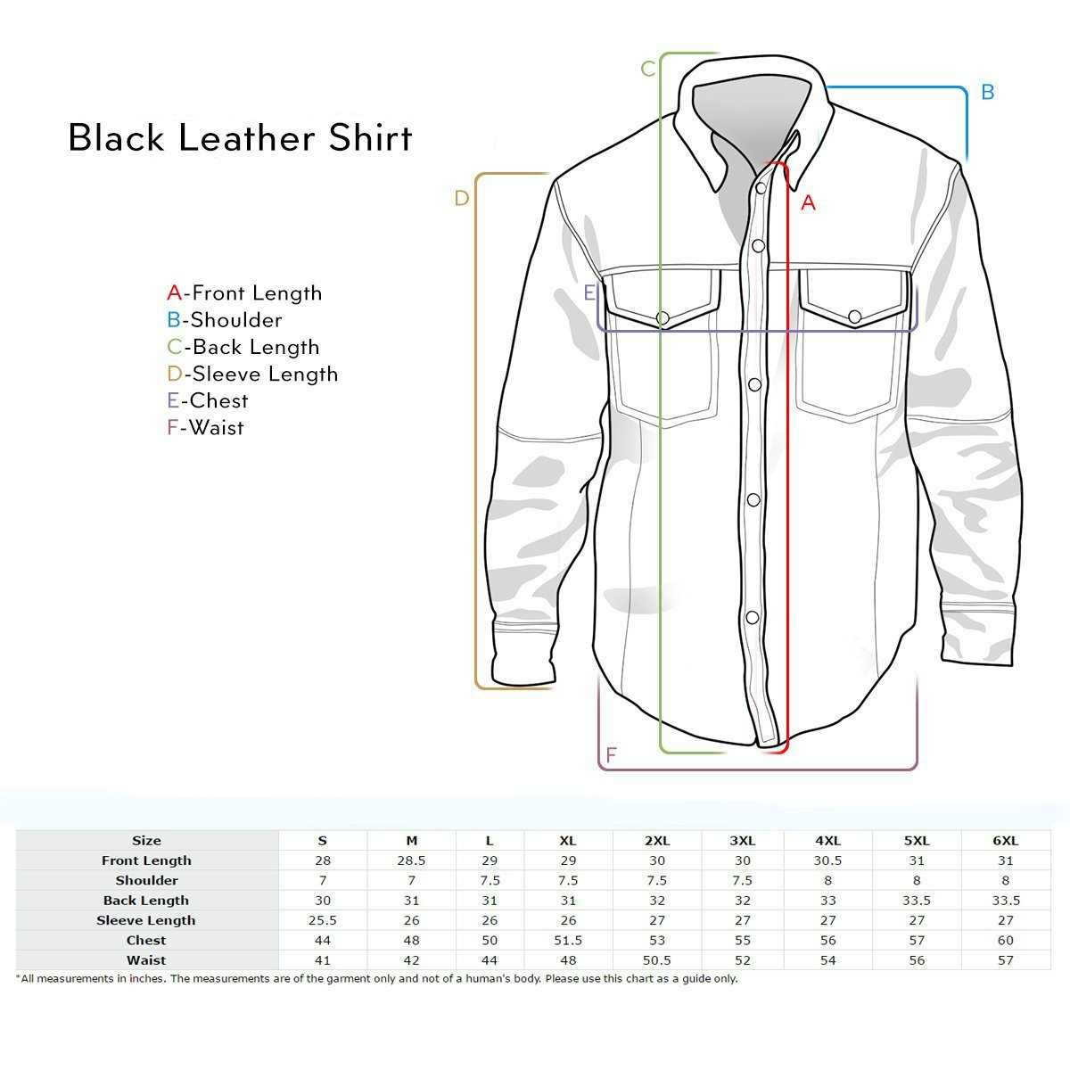 First Manufacturing Men's Lightweight Leather Shirt (Black, XXX-Large) by First Mfg Co (Image #4)