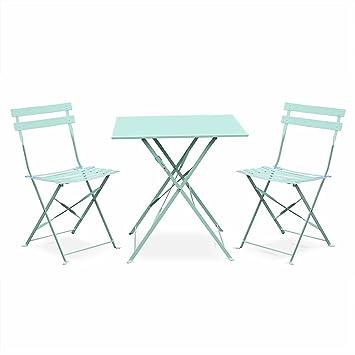 Salon de Jardin bistrot Pliable - Emilia carré Vert d\'eau - Table 70x70cm  avec Deux chaises Pliantes, Acier thermolaqué