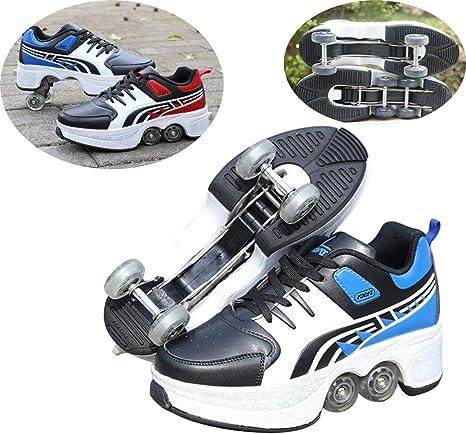 LYGID Zapatos Ruedas Patines Unisex Principiantes Calzado De Skateboarding Deportes De Exterior Running Zapatillas Ajustable Quad Rueda: Amazon.es: Deportes y aire libre