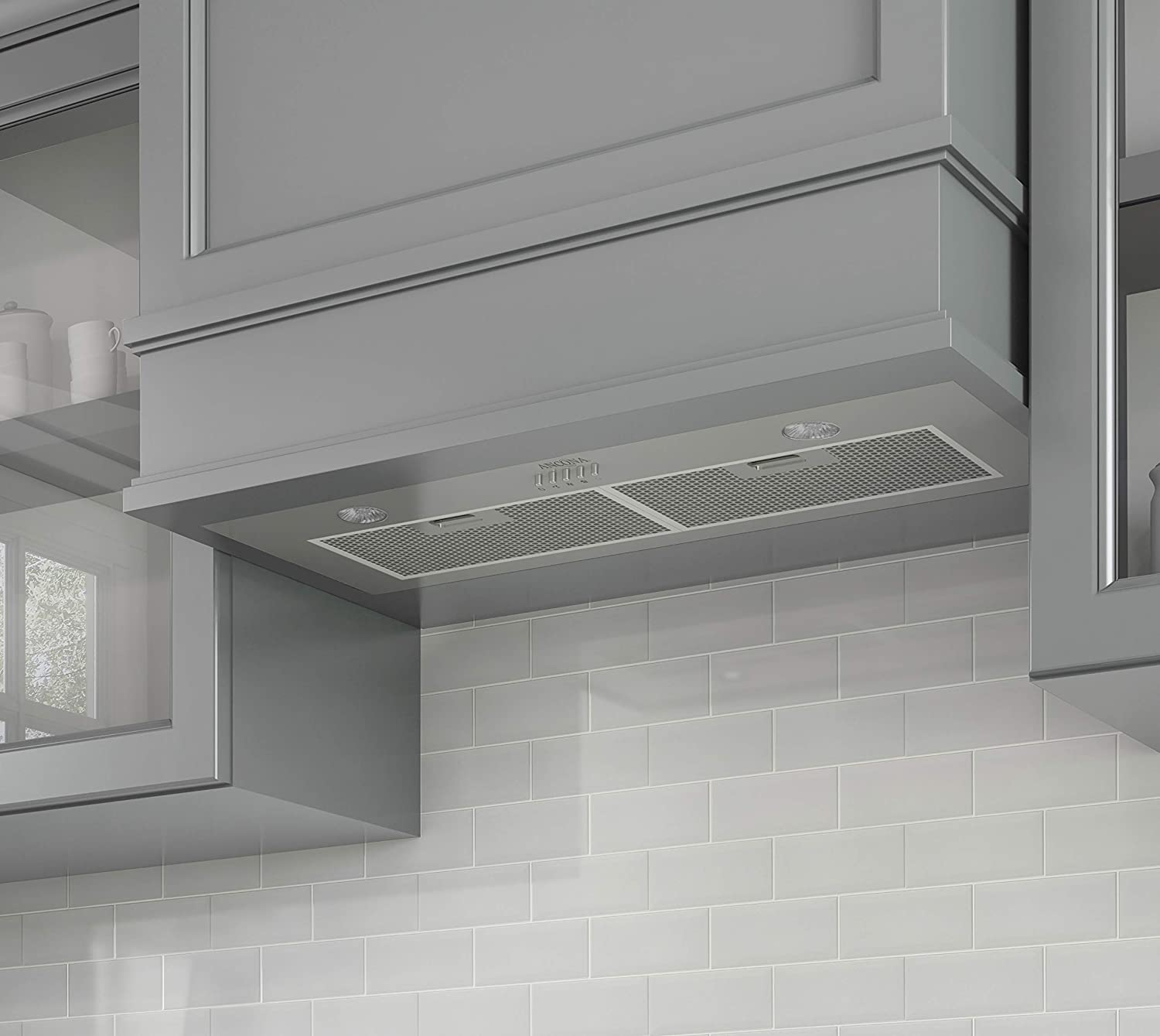 Broan Powder-Coated Power Pack Range Hood Insert Silver ENERGY STAR Certified 52 Exhaust Fan and Light Combo for Over Kitchen Stove 0.5 Sones 290 CFM