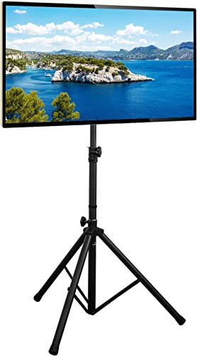 Rfiver Portable Tripod TV Display Floor Stand with Swivel Tilt Mount for 32 -70 Plasma LCD, LED, OLED Flat Curved Screen TVs, Height Adjustable and Legs Foldable, Max VESA 600x400mm, Black