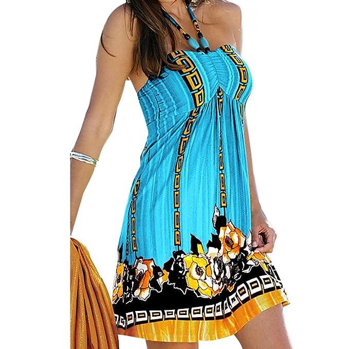 Juleya Vestido Mujer Verano Playa Mini Vestidos Boho Mujeres Vestido Cortos Halterneck Bandeau Dress Vestidos Sin