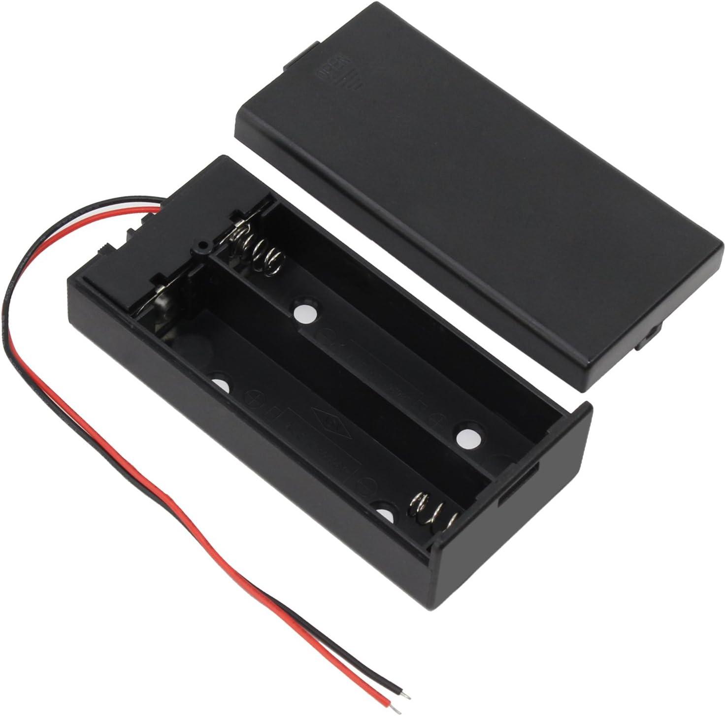 keesin 3.7V 18650Batería Plana Caso plástico Caja de batería con Interruptor de Encendido/Apagado y fijación Presilla 2Solts × 4Unidades