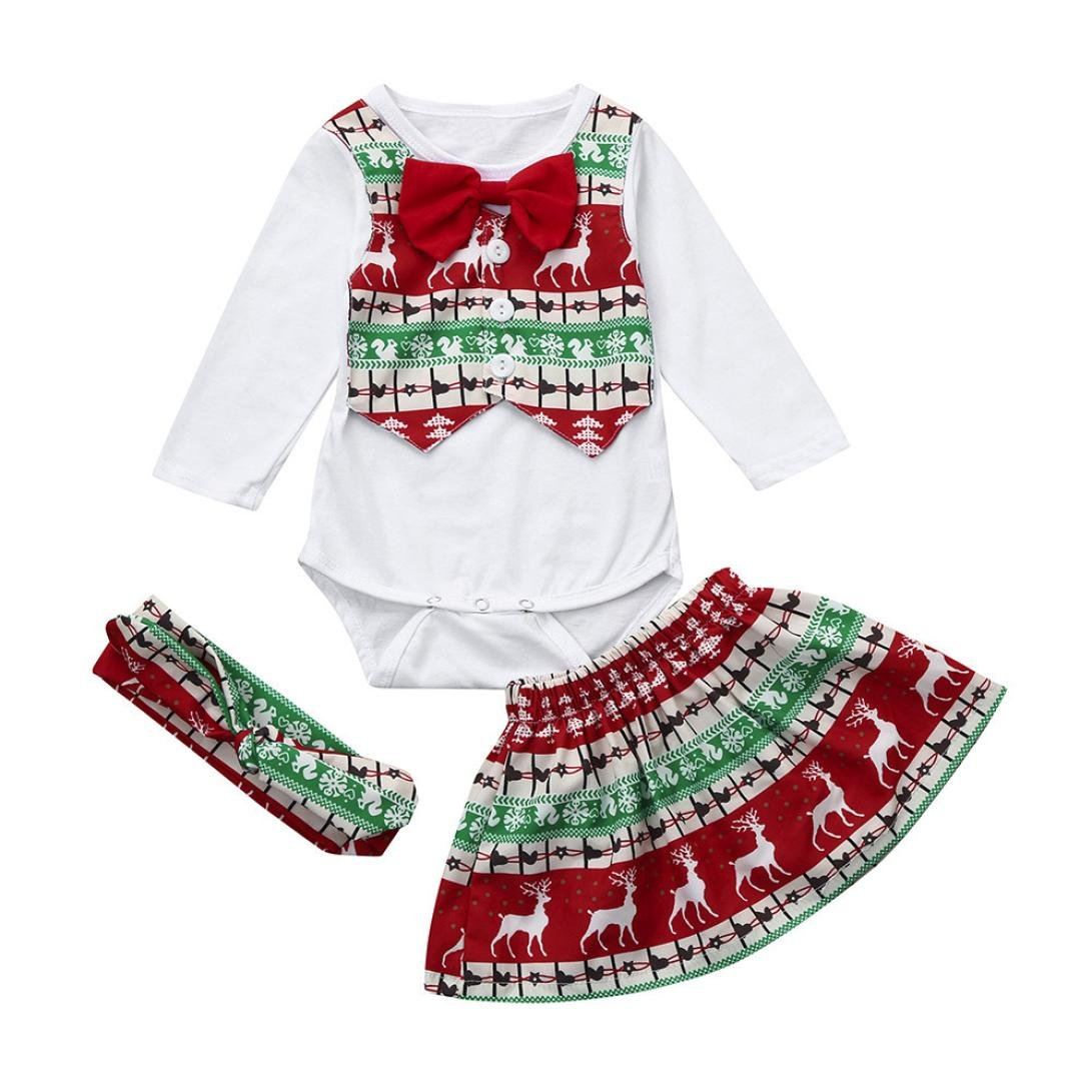 90a46003f Amazon.com  FORESTIME 3Pcs Infant Girls Baby Deer Romper+Skirt+ ...