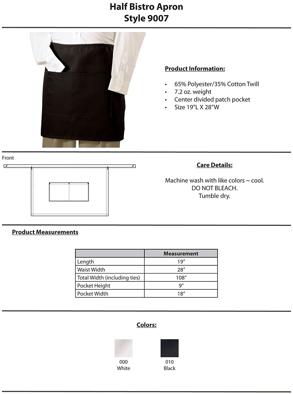 White bistro apron - Amazon Com Edwards Garment Half Bistro Waist Apron Black One Size Clothing