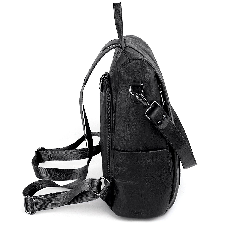 Amazon.com: UTO Women Anti-Theft Backpack Purse PU Washed Leather Convertible Ladies Rucksack Shoulder Bag Black: Clothing
