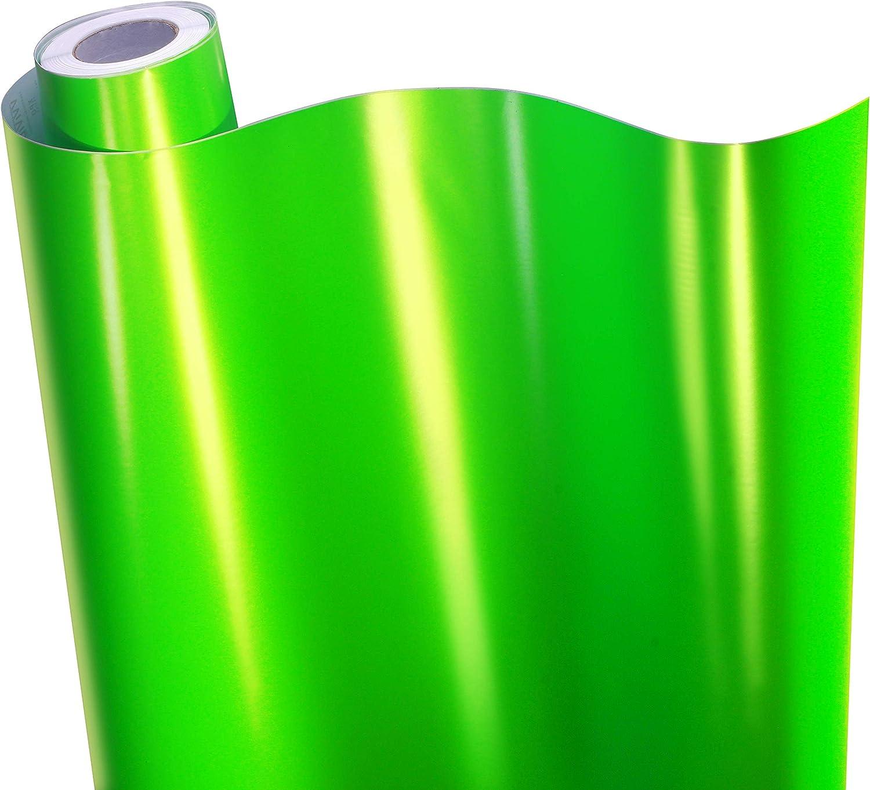 VViViD+ Premium Satin Chrome Apple Green Vinyl Wrap Roll w/Air-Release Adhesive Technology (1ft x 5ft)