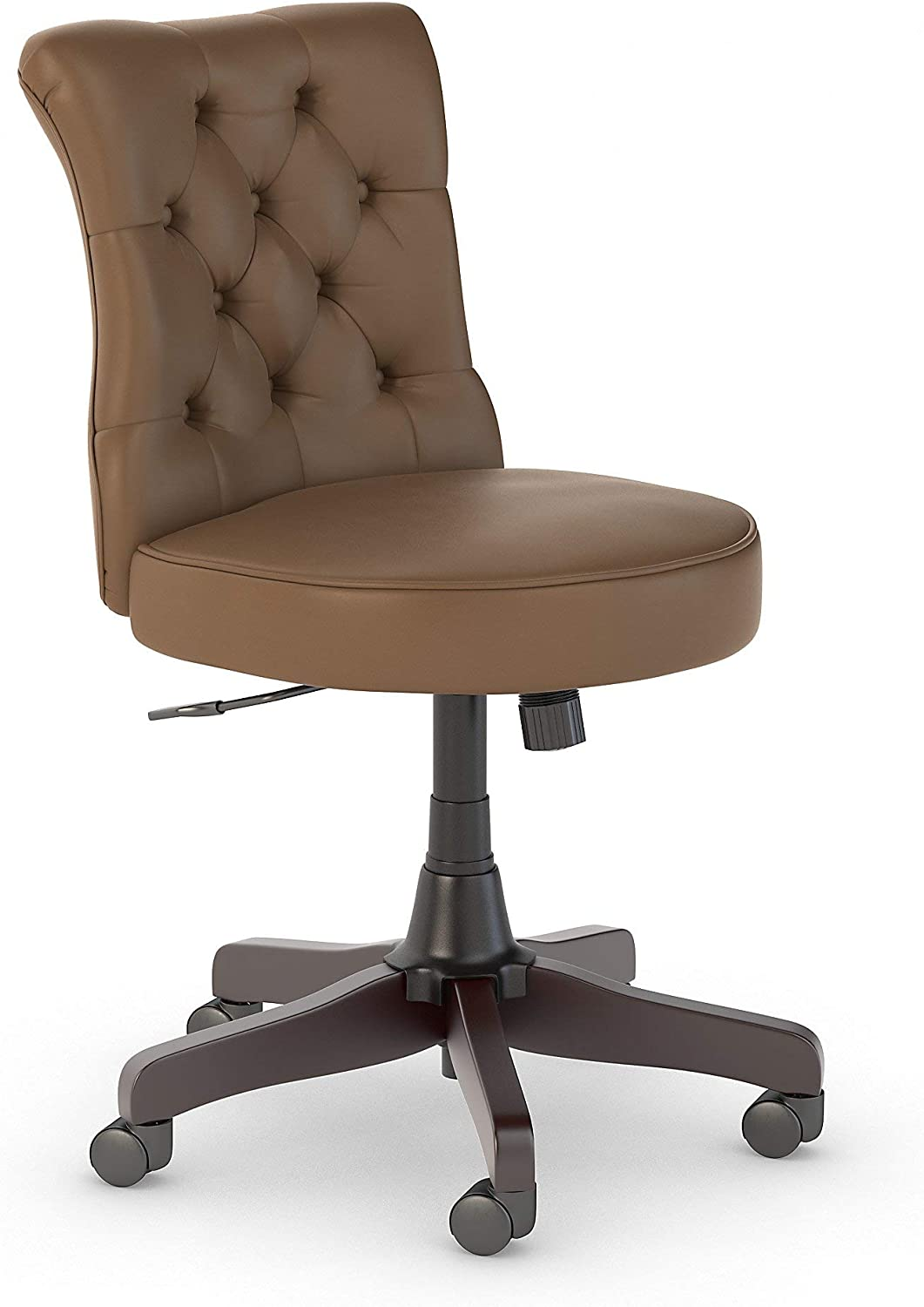 Bush Business Furniture Arden Lane Mid Back Tufted Office Chair, Saddle Tan Leather