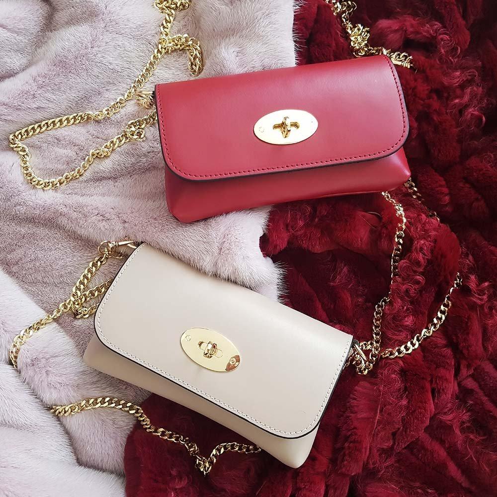 e720c3297a #MYITALIANBAG BRENDA Borsetta piccola a tracolla con catena in oro pallido  e chiusura a giro borsetta da sera portafogli con catena pelle liscia  (Rosso): ...