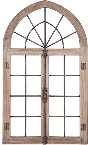 Distressed Gray Arched Cathedral Window Frame Wall D cor