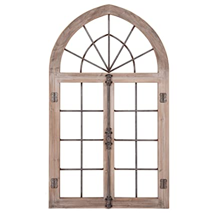 bbec9d4b2d Amazon.com: Distressed Gray Arched Cathedral Window Frame Wall Décor: Home  & Kitchen