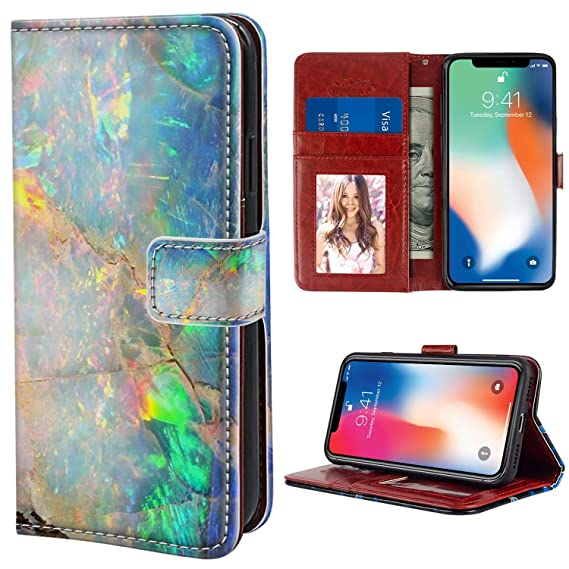 the best attitude 30302 93edd Amazon.com: YaoLang iPhone X/10/Xs Wallet Case, Colorful Opal Marble ...