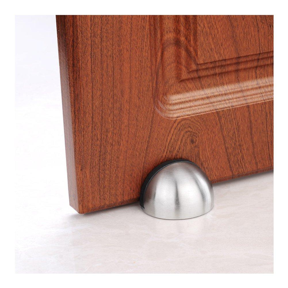 HaloVa Door Stopper, Free Punch Stainless Steel Brushed Door Stop, 3M Adhesive Door Holder Doorstop for Hotel Home Restaurant, No Need to Drill, Silver