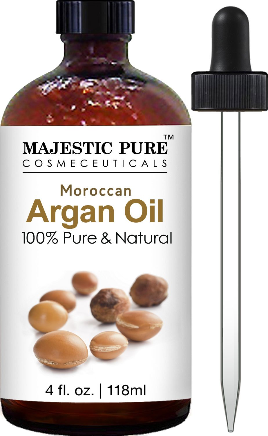 Majestic Pure Moroccan Argan Oil for Hair, Face, Nails, Beard & Cuticles - for Men and Women - 100% Natural & Organic, 4 fl. oz. by Majestic Pure