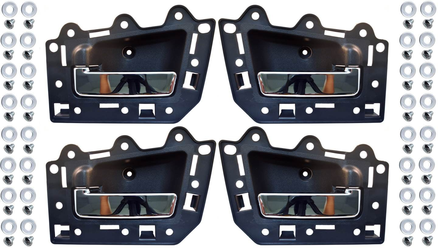 Black Housing with Chrome Lever PT Auto Warehouse CH-2815MA-QP Set of 4 Inner Interior Inside Door Handle