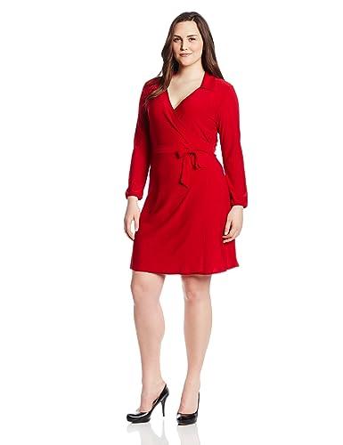 Star Vixen Women's Plus-Size Long Sleeve Fullwrap Dress