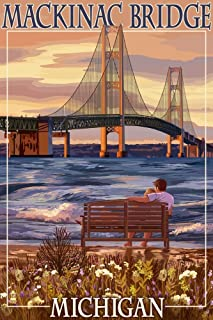 product image for Mackinac, Michigan - Mackinac Bridge and Sunset (9x12 Art Print, Wall Decor Travel Poster)