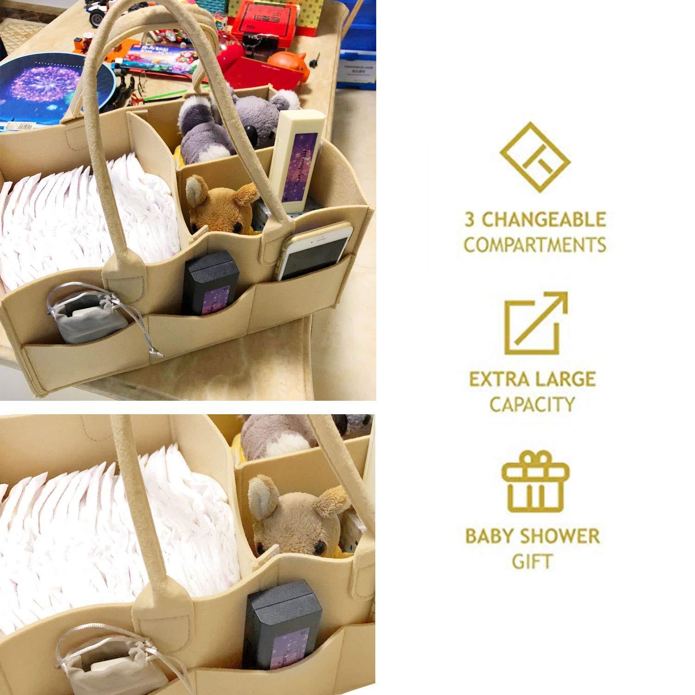 Baby Diaper Caddy Organizer for Nursey by YaoLONG-XL Classic Khaki and Grey Felt Large Storage Basket Travel Classic Khaki Best Gift for Baby Shower /& New Mom Helper.