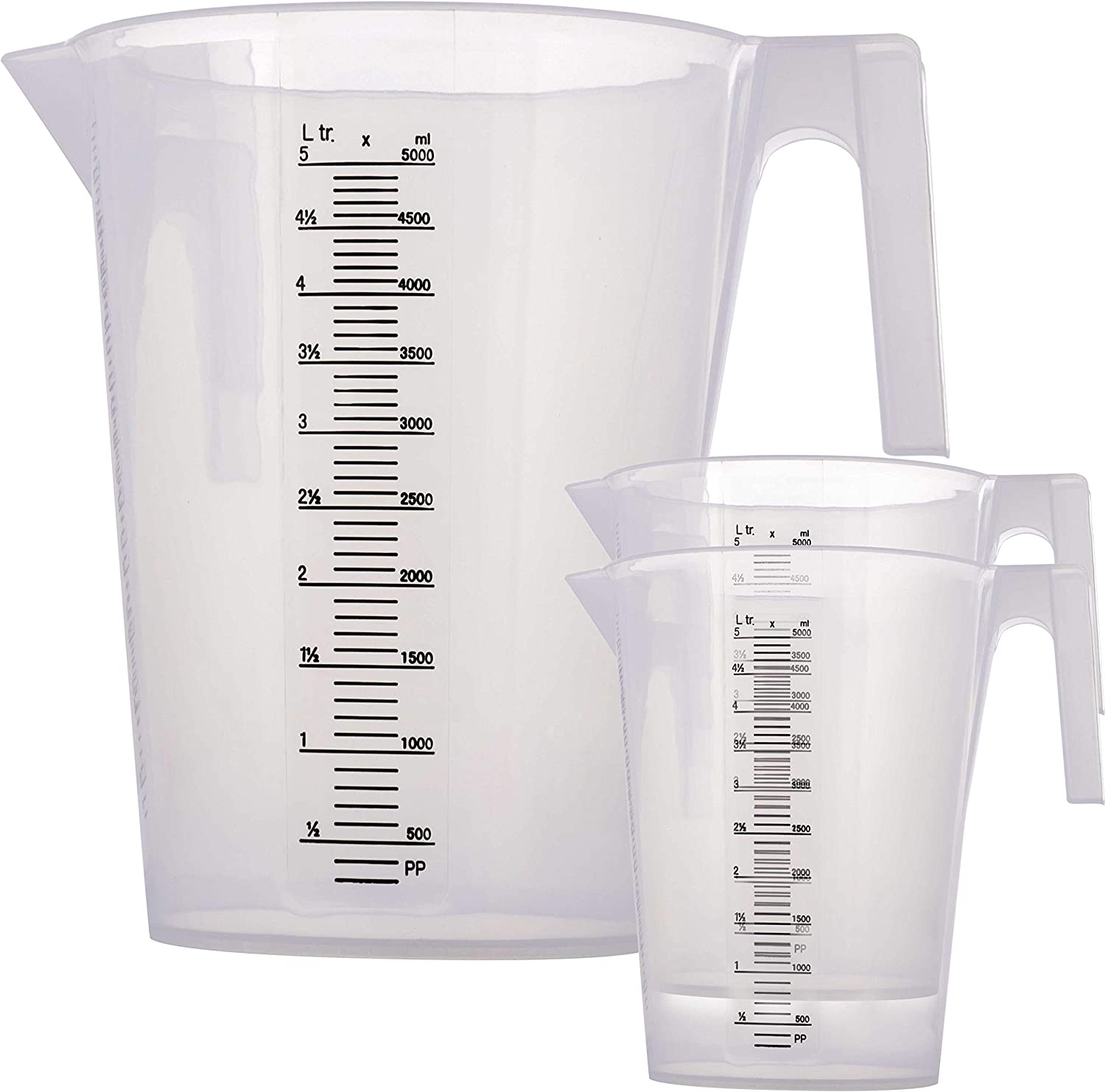 TCP Global 5 Liter (5000ml) Plastic Graduated Measuring and Mixing Pitcher (Pack of 3) - Holds 5 Quarts 1.25 Gallons- Pouring Cup, Measure & Mix Paint, Resin, Epoxy, Kitchen Cooking Baking Ingredients