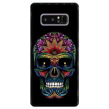 Hapdey Funda Negra para [ Samsung Galaxy Note 8 ] diseño [ Día de los Muertos, Calavera Tatuada ] Carcasa Silicona Flexible TPU