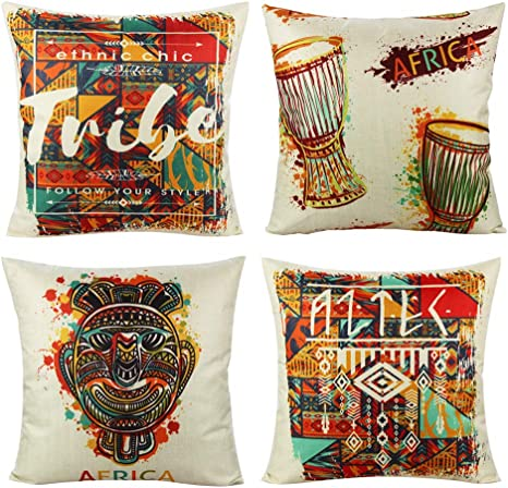 Amazon Com Vakado Africa Ethnic Throw Pillow Covers Decorative Mask Outdoor Indian Home Decor African Tribal Multicolor Cushion Cases Drum Totem Mask Pillowcases For Couch Bedroom Set Of 4 18x18 Home Kitchen