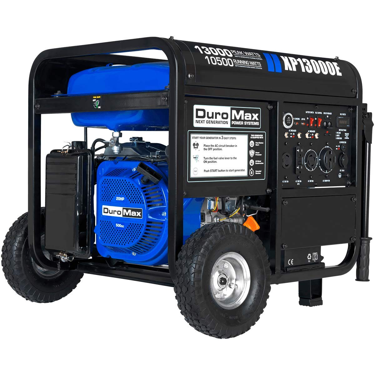DuroMax XP13000E Gas Powered Portable Generator – 13000 Watt -Electric Start- Home Back Up RV Ready, 50 State Approved