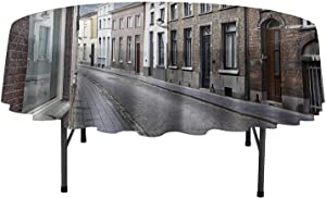 Polyester Fabric Tablecloths Wanderlust Decor Collection Cityscape of Bruges Streets Belgium Architecture Cobblestone Town Scene Tablecloth for Restaurant Party D35 Inch Gray White