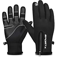 Yobenki Winter Gloves, Upgrade Mens Gloves Touch Screen Gloves with Zipper Windproof Cycling Running Gloves Water Resistant Non-Slip Design for Driving Climbing Hiking and More