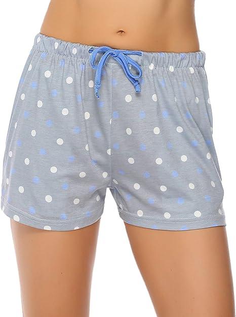 Hawiton Pijama Pantalon Corto Mujer Verano de Algodón Pantalones ...