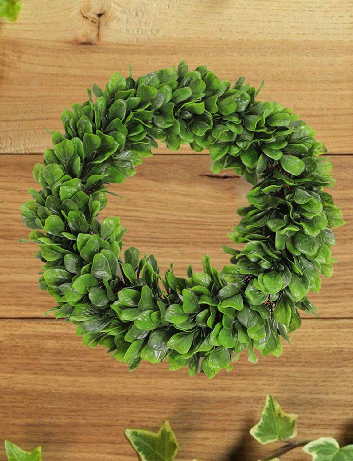 15 Inch Fern Round Garland for Door Wall Window Party D/écor momoplant Artificial Green Leaf Wreath