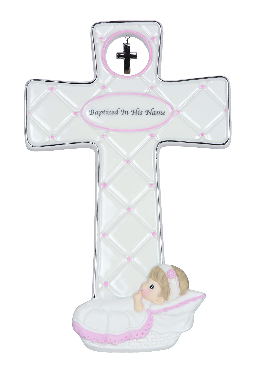 """Precious Moments, Baptism Gifts, """"Baptized In His Name"""", Boy, Bisque Porcelain Cross, 143403"""