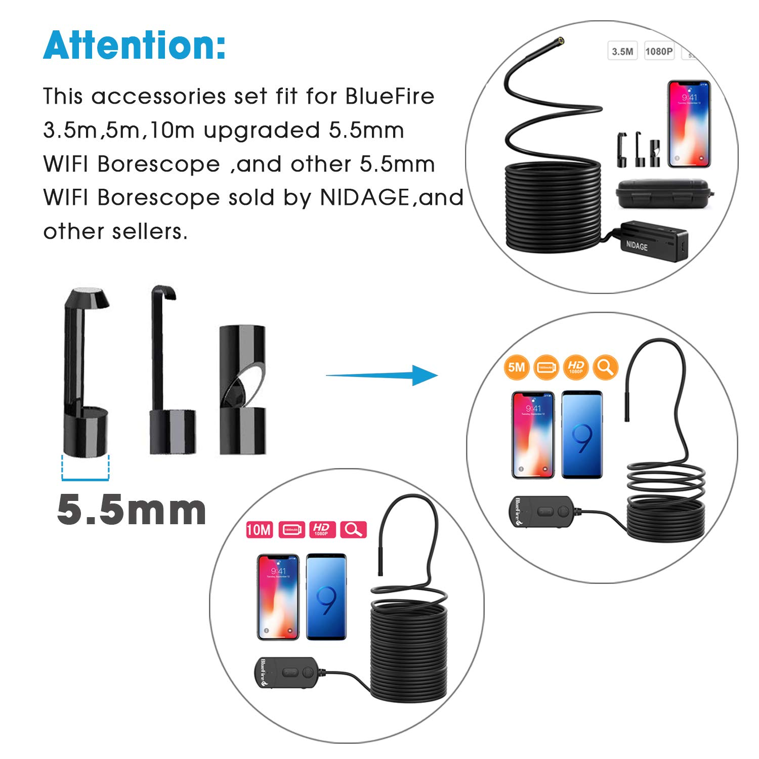 BlueFire Hook Magnet Side View Mirror Endoscope Accessories Set for 8.5mm and 5.5mm Wireless Endoscope WiFi Borescope Inspection Camera