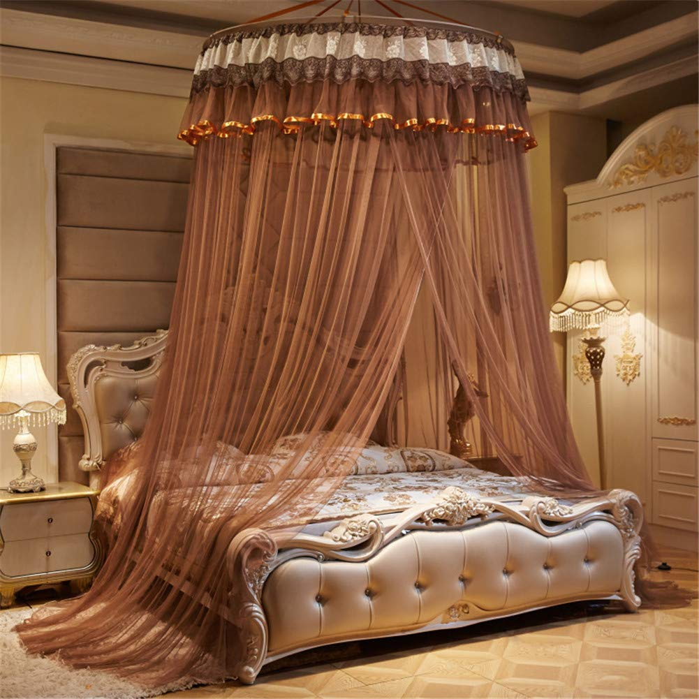 XDWN Mosquito Net Round Lace Dome Bed Canopy Netting Princess Fashion for King Queen Double Twin Size Bed,Brown