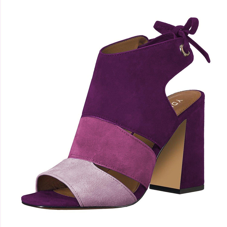 YDN Women's Fashion Peep Toe Bootie Pumps Chunky Heels Boots Casual Comfy Slide Shoes Purple 9.5
