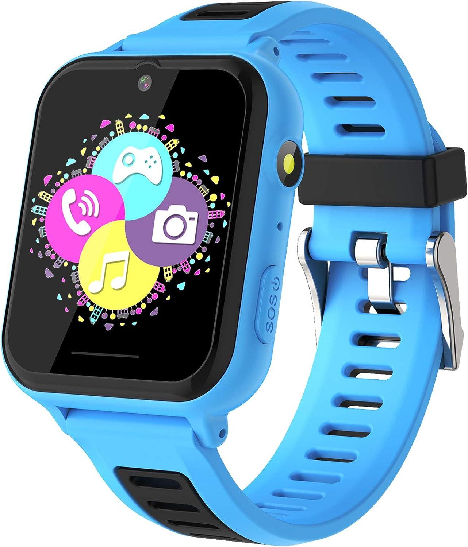 Smartwatch Niños - Relojes Inteligentes Teléfono Niños con SOS Música 14 Juegos Cámara Cronómetro Despertador Calculadora Linterna Pantalla Táctil, Reloj Llamada Niños Regalos para 4-12 Años (Azul)