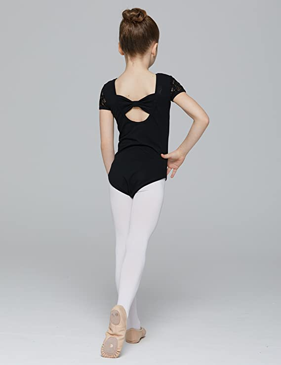 031e00bedc9b Amazon.com  MdnMd Girls  Cap Sleeve Lace Neck Leotard with Bow Back ...