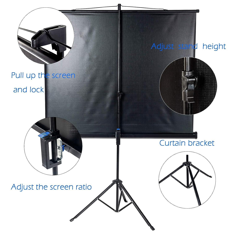 H Display4top Pantalla de Proyecci/ón con Tr/ípode para Cine en casa y Oficina 4:3 Pantalla: 120cm W x 90cm