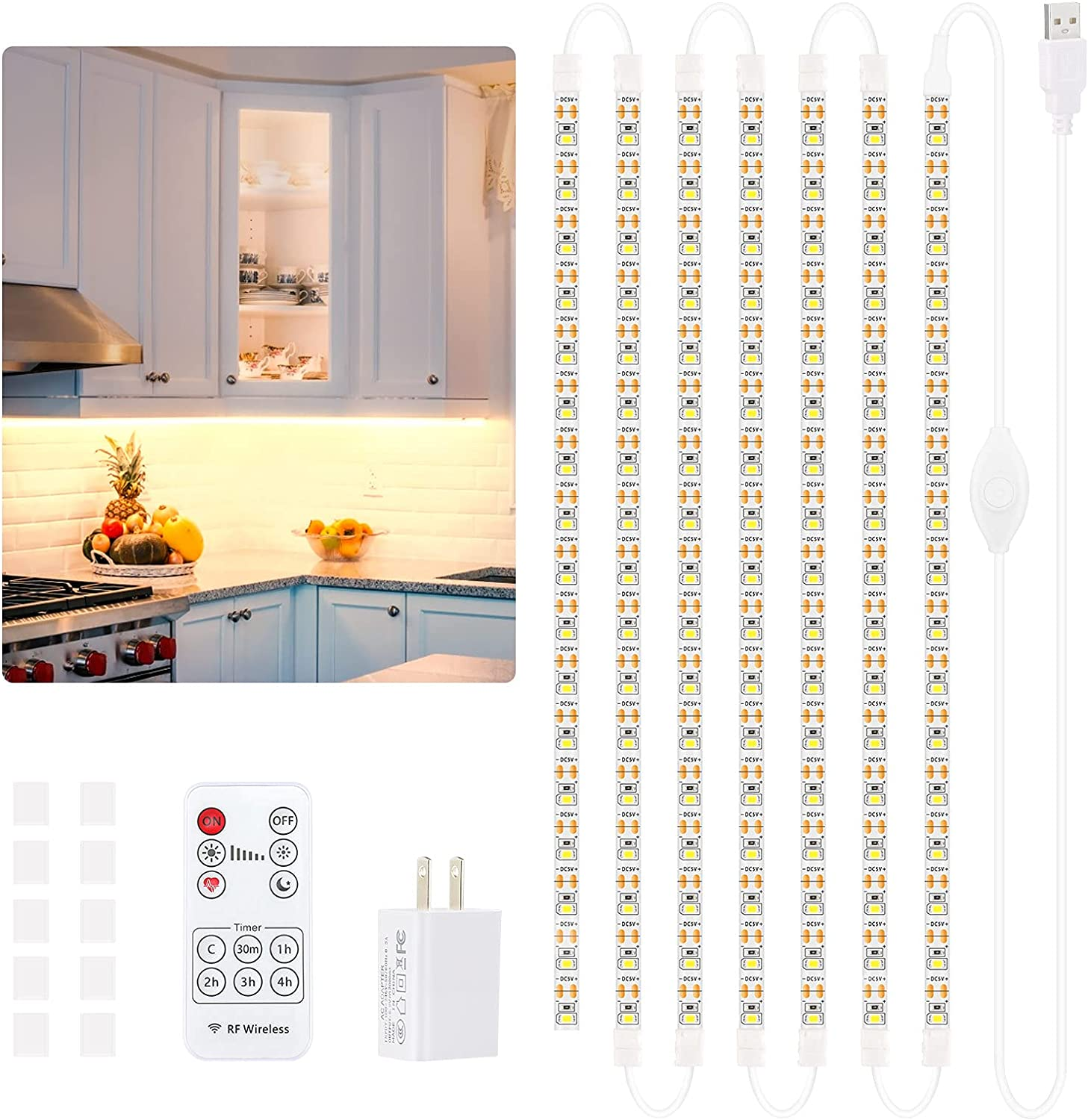UNILLKING Under Cabinet LED Lighting Kit Under Counter Lights for Kitchen led Light Strips with RF Remote 16.4ft Waterproof Cabinet Lighting for Closets Bathroom Shelves Showcase Counters(Warm White)