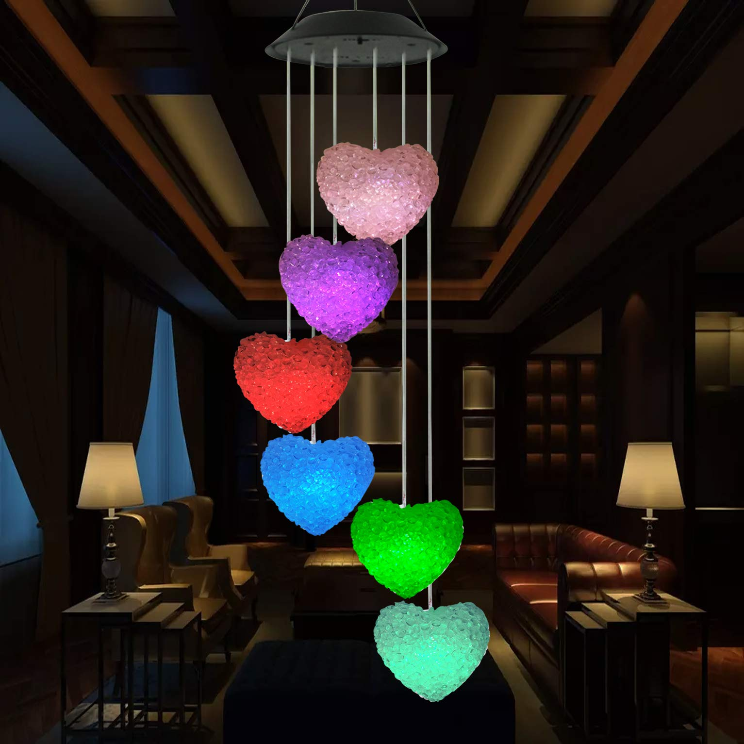 Youyuan LED Solar Wind Chime - Outdoor Waterproof Solar Powered LED Changing Light Color Mobile Six Heart Shaped Wind Chimes for Home,Party,Festival Decor,Valentines Gift,Night Garden Decoration by Youyuan